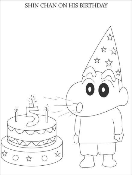 tranh tô màu Shin đang thổi nến sinh sinh nhật