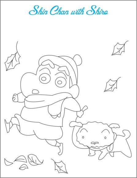 tranh tô màu Shin dắt Shiro đi dạo