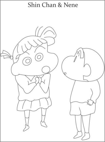 tranh tô màu Shin và Nene