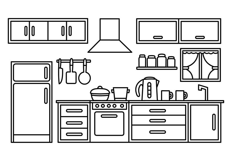 tranh tô màu vật dụng phòng bếp trong gia đình