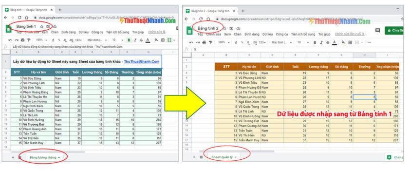 tự động lấy dữ liệu từ sheet này sang sheet khác của bảng tính khác