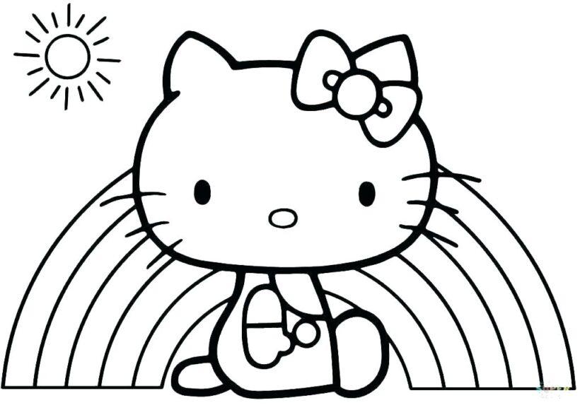 Ảnh vẽ Hello Kitty cho bé tô màu