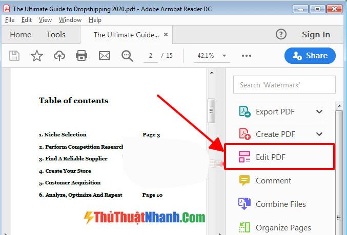 Cách chỉnh sửa file pdf adobe