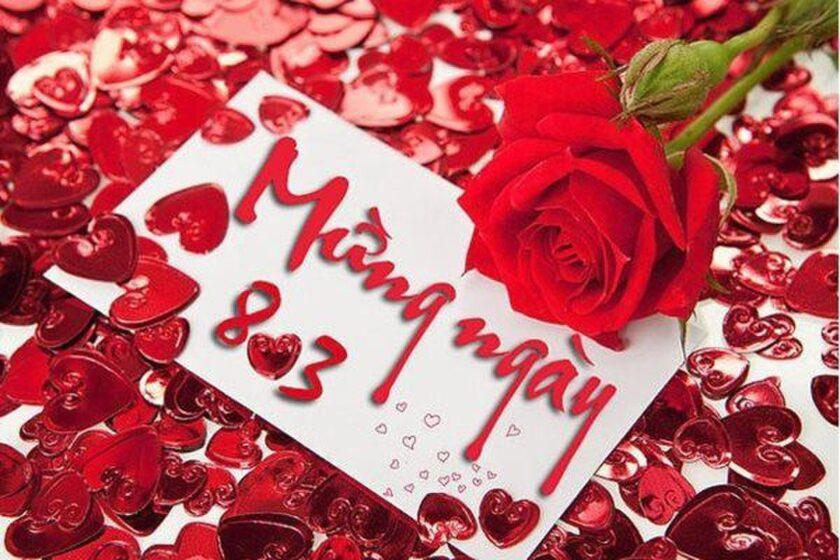 hình ảnh 8 3 đẹp với hoa hồng đỏ