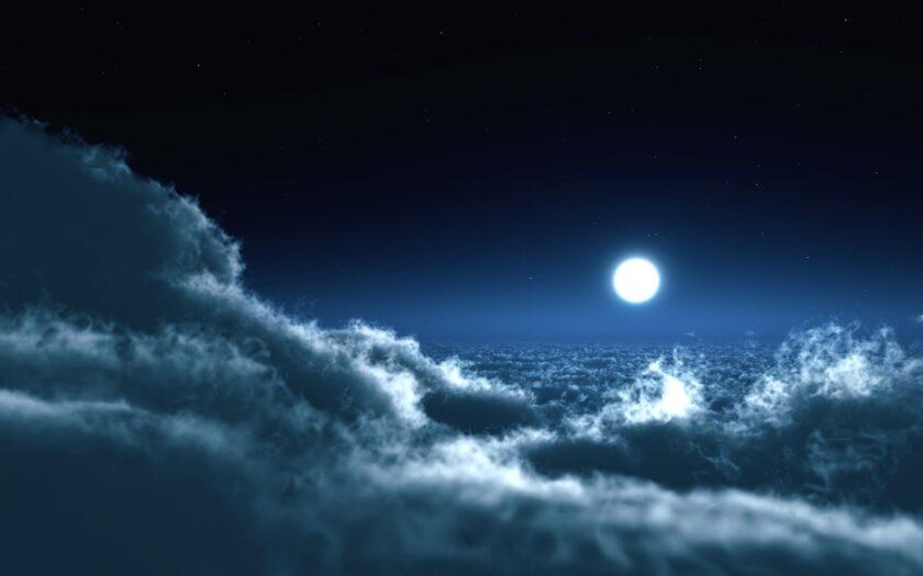 Hình ảnh mây đẹp với anh trăng