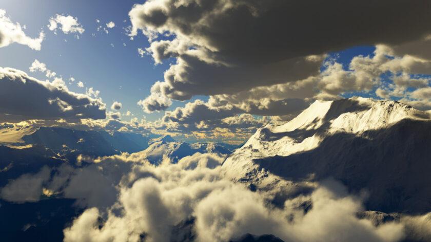 Hình ảnh mây trôi lơ lững giữa những ngọn núi
