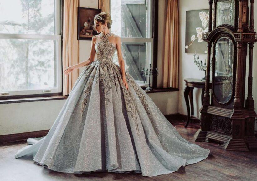 hình ảnh váy cưới màu bạc kiêu sa