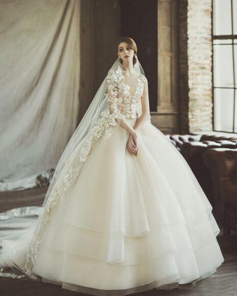 hình ảnh váy cưới ren xếp tầng đẹp
