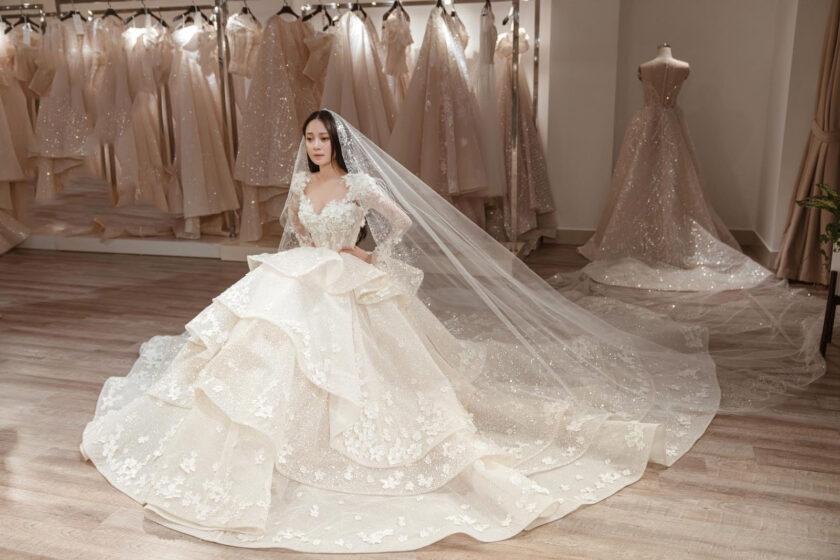 hình ảnh váy cưới trắng tinh khôi