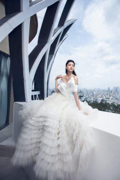 hình ảnh váy cưới xếp tầng đẹp