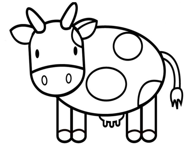 Hình tô màu con bò sữa dành cho bé 3 tuổi
