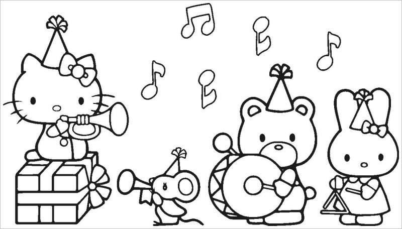 Hình vẽ chưa tô màu Hello Kitty