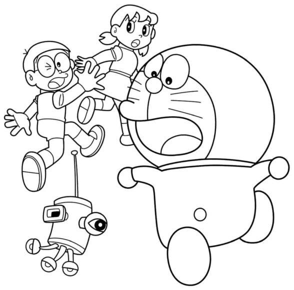 Hình vẽ chưa tô màu Nobita