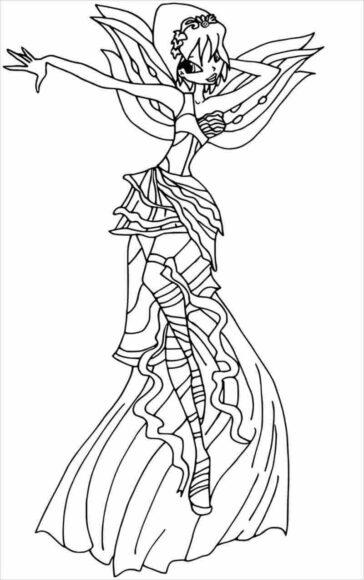 Hình vẽ đen trắng công chúa Winx