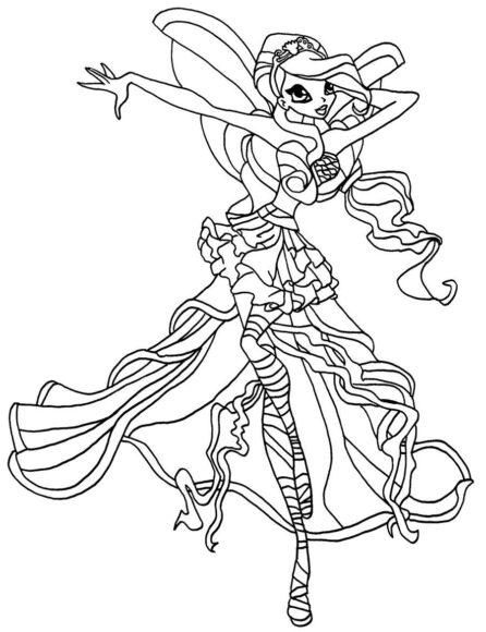 Mẫu tranh tô màu công chúa Winx