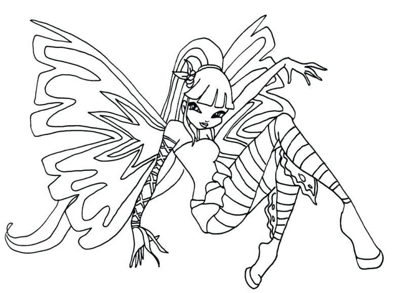 Mẫu vẽ chưa tô màu công chúa Winx