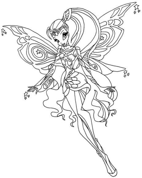 Mẫu vẽ công chúa Winx cho bé tập tô