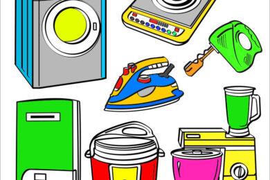 tải tranh tô màu vật dụng gia đình cho bé