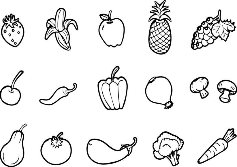 Tranh tô màu các loại rau củ quả dành cho bé 3 tuổi tập tô
