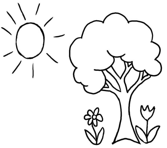 Tranh tô màu cho bé 3 tuổi hình ông mặt trời và những cái cây