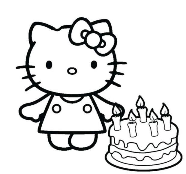 Tranh tô màu cho bé hình Hello Kitty