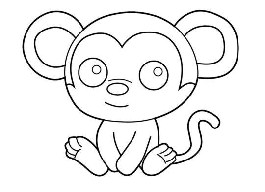 Tranh tô màu chú khỉ con dành cho bé 3 tuổi