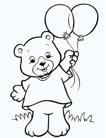 Tranh tô màu con gấu dành cho bé 3 tuổi
