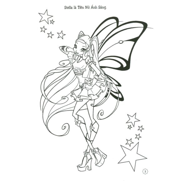 Tranh tô màu công chúa Winx có đôi cánh đẹp