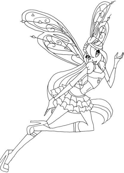 Tranh tô màu công chúa Winx đang bay