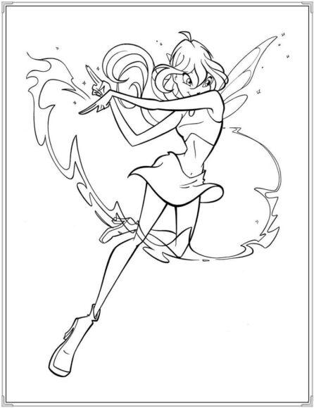Tranh tô màu công chúa Winx đang dùng phép thuật
