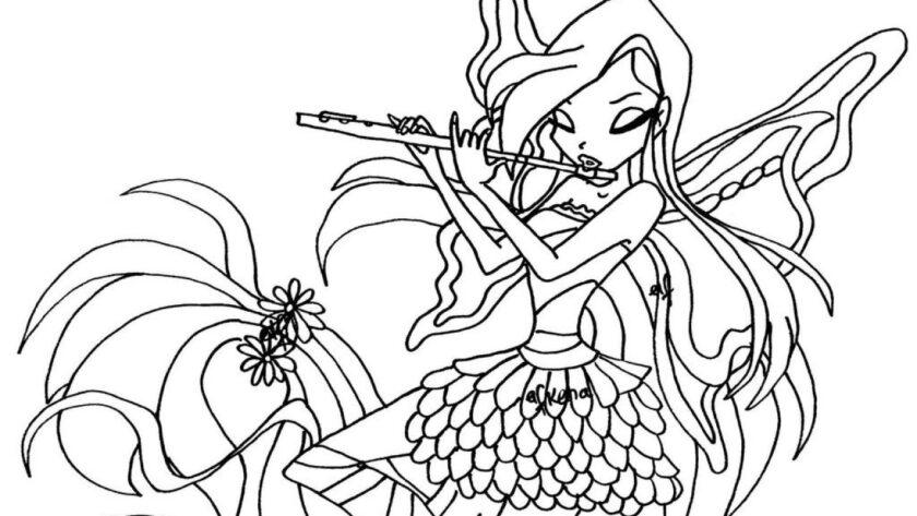 Tranh tô màu công chúa Winx thổi sáo