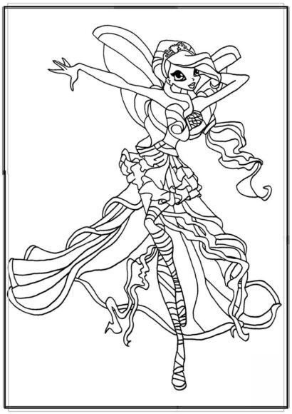 Tranh tô màu công chúa Winx với sức mạnh ngọn lửa rồng thiêng