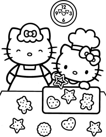 Tranh tô màu Hello Kitty dễ thương nhất