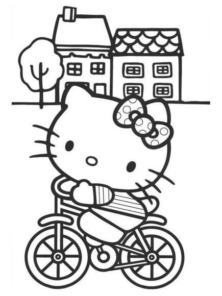 Tranh tô màu Hello Kitty đi xe đạp