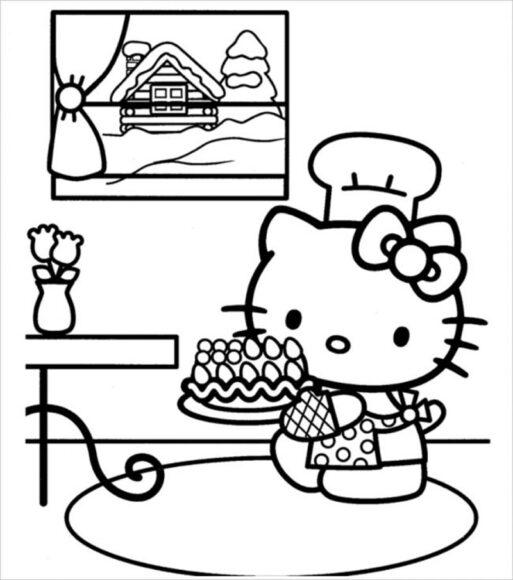 Tranh tô màu Hello Kitty làm đầu bếp