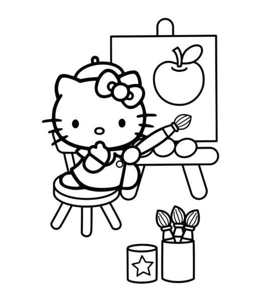 Tranh tô màu Hello Kitty làm hoạ sĩ