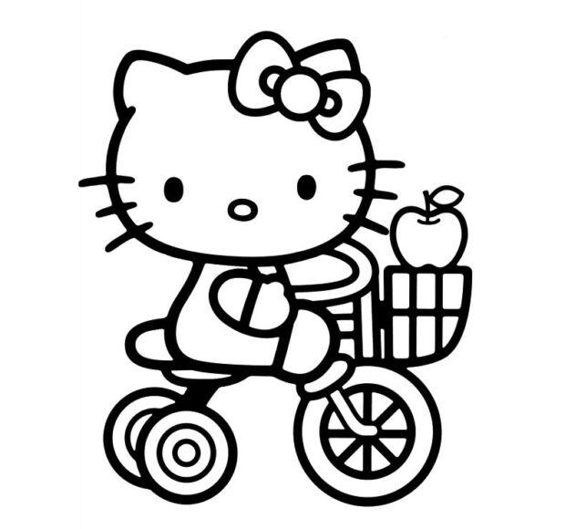 Tranh tô màu Hello Kitty ngộ nghĩnh