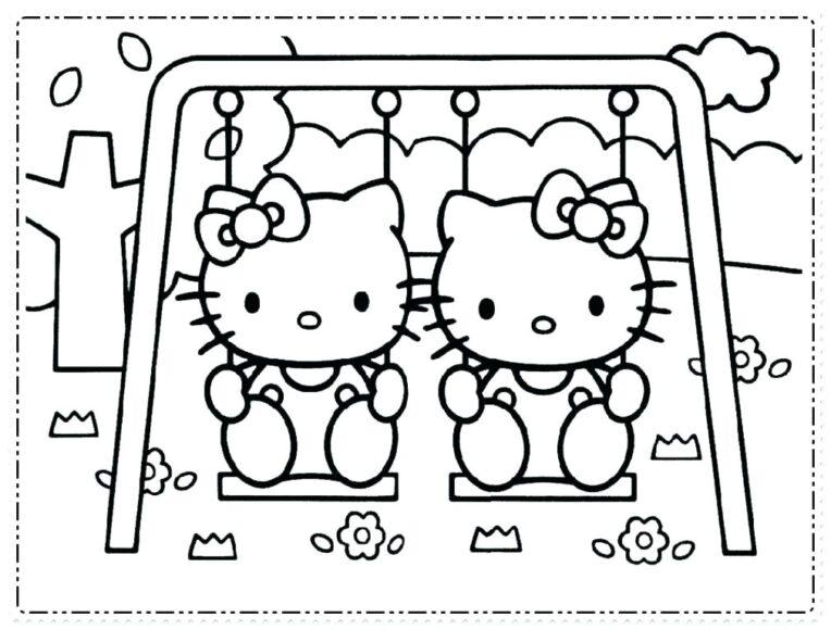 Tranh tô màu Hello Kitty ngồi xích đu