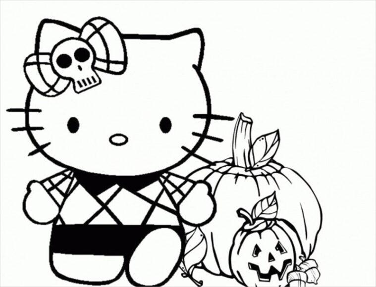 Tranh tô màu Hello Kitty trong ngày lễ Halloween
