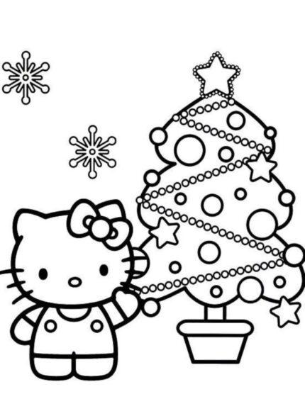 Tranh tô màu Hello Kitty và cây thông Noel
