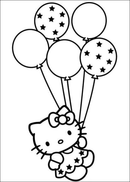 Tranh tô màu Hello Kitty và chùm bóng bay