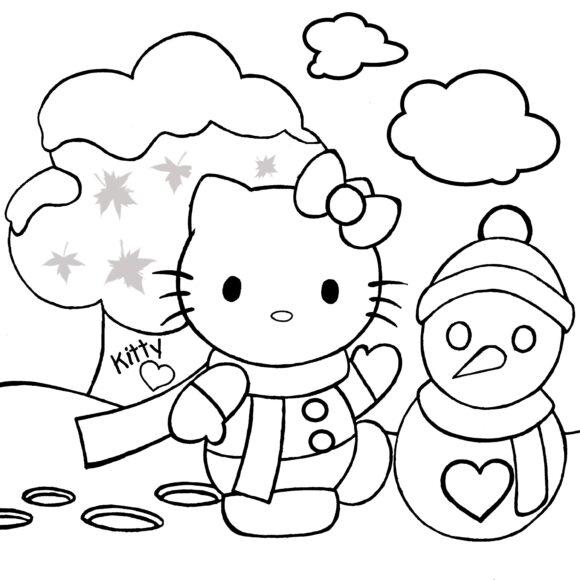 Tranh tô màu Hello Kitty và người tuyết ngộ nghĩnh