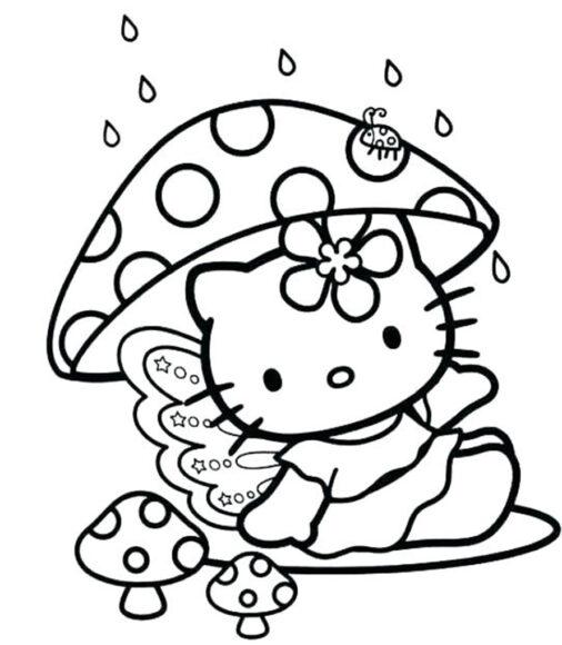 Tranh tô màu Hello Kitty và những cây nấm