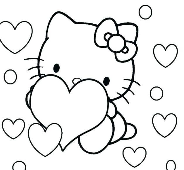 Tranh tô màu Hello Kitty và những hình trái tim