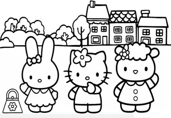 Tranh tô màu Hello Kitty và những người bạn
