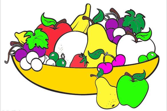 tranh tô màu hoa quả cho bé