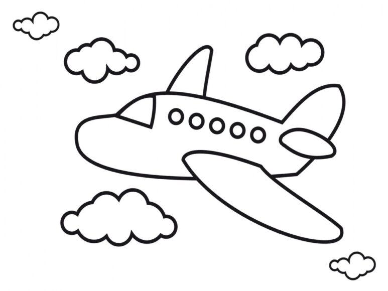 Tranh tô màu máy bay dành cho bé 3 tuổi tập tô
