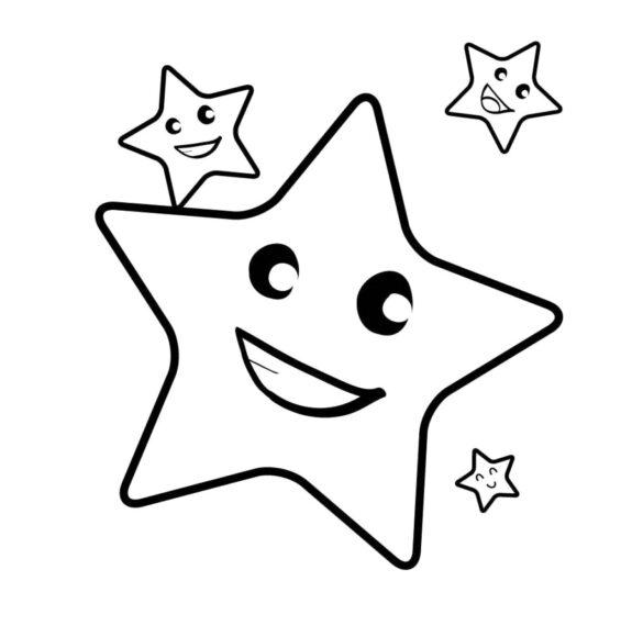 Tranh tô màu những hình ngôi sao mặt cười dành cho bé 3 tuổi