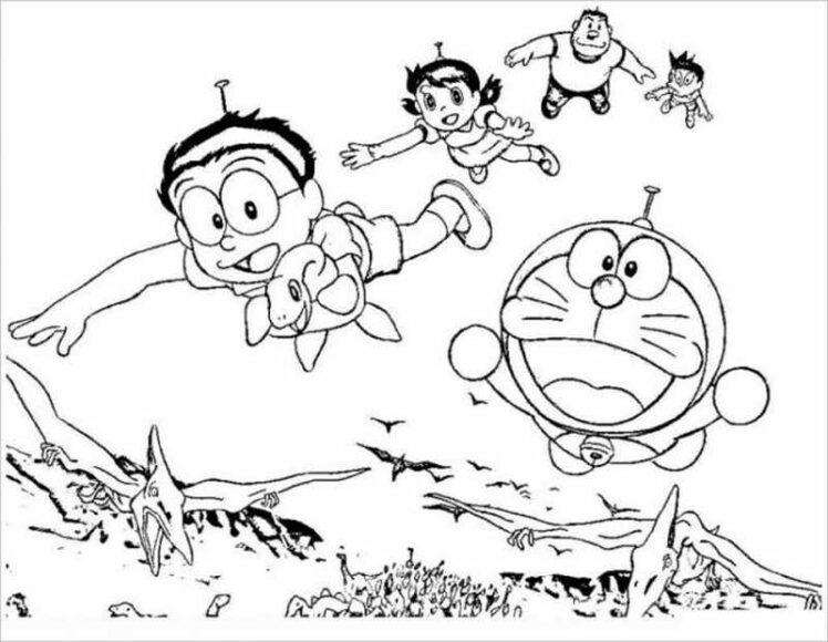 Tranh tô màu Nobita đang bay cùng các bạn