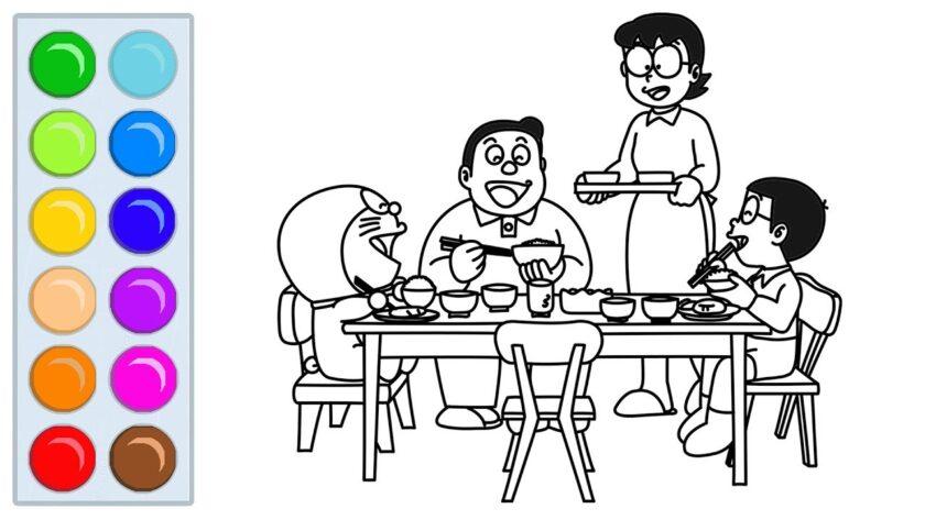 Tranh tô màu Nobita ngồi ăn cơm cùng gia đình